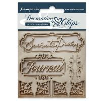 Stamperia Decorative chips cm 14x14 Secret diary