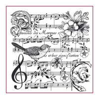 Stamperia High Definition Stamp 10cmx10cm Music Score with Bird
