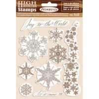 Stamperia HD Natural Rubber Stamp  cm.14x18 Snowflakes
