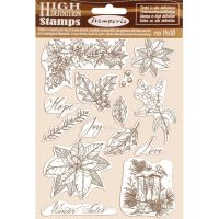 Stamperia HD Natural Rubber Stamp  cm.14x18 Poinsettia