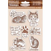 Stamperia HD Natural Rubber Stamp cm 14x18 Cats