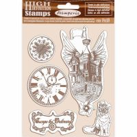 Stamperia HD Natural Rubber Stamp cm 14x18 Lady Vagabond flying ship