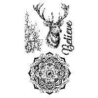 Stamperia HD Natural Rubber Stamp cm.10x16,5 Cosmos deer