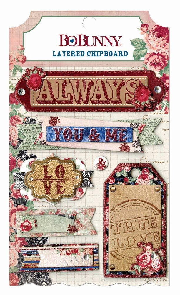 Bo Bunny Love & Lace Layered Chipboard