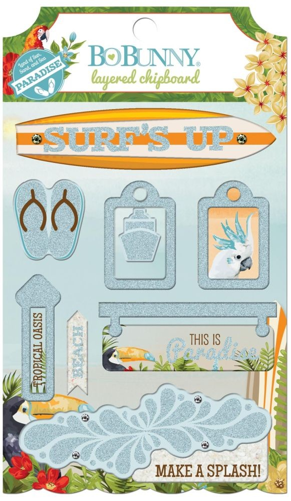 Bo Bunny Beach Therapy Layered Chipboard
