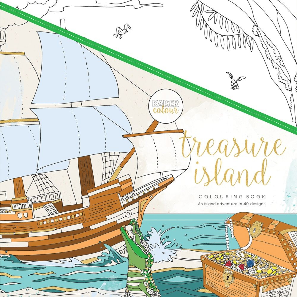 "KaiserCraft Kaisercolour Perfect Bound Coloring Book 9.75""x9.75""-Treasure Island"