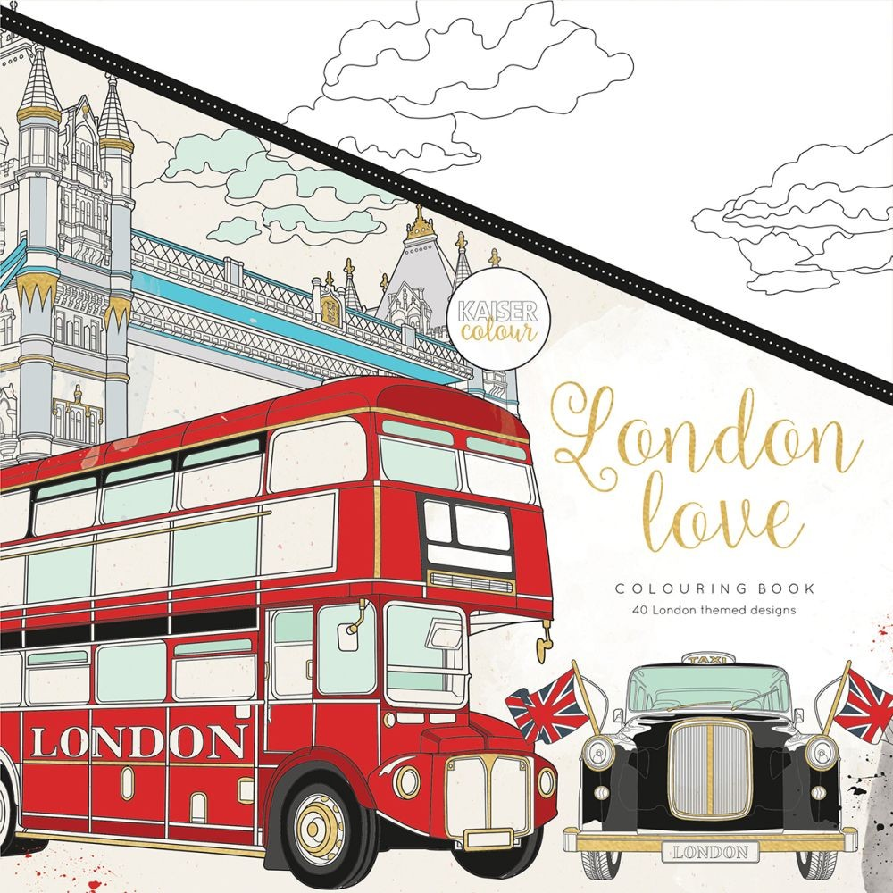 "KaiserCraft Kaisercolour Perfect Bound Coloring Book 9.75""x9.75""-London Love"