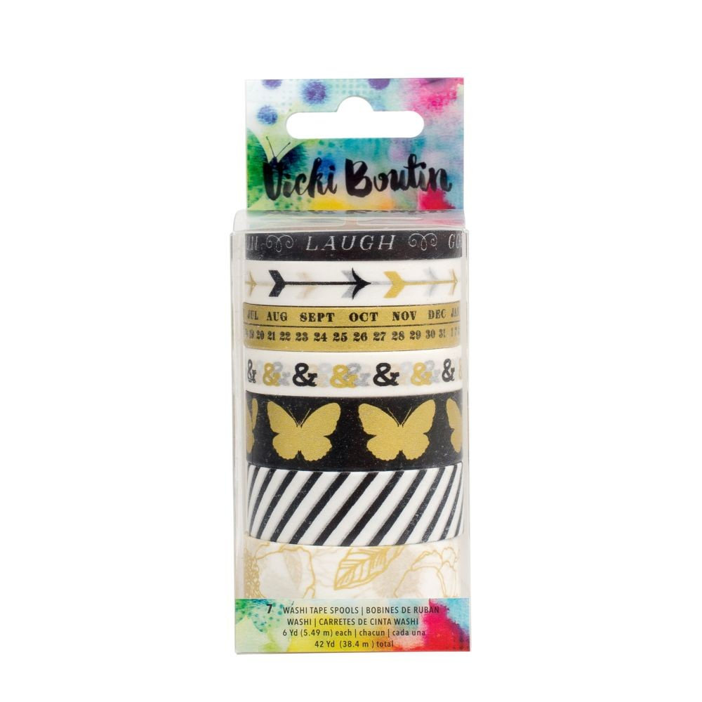 American Crafts Vicki Boutin Mixed Media - Washi Tape - Metallic - (7 Piece 6 yds. Each)
