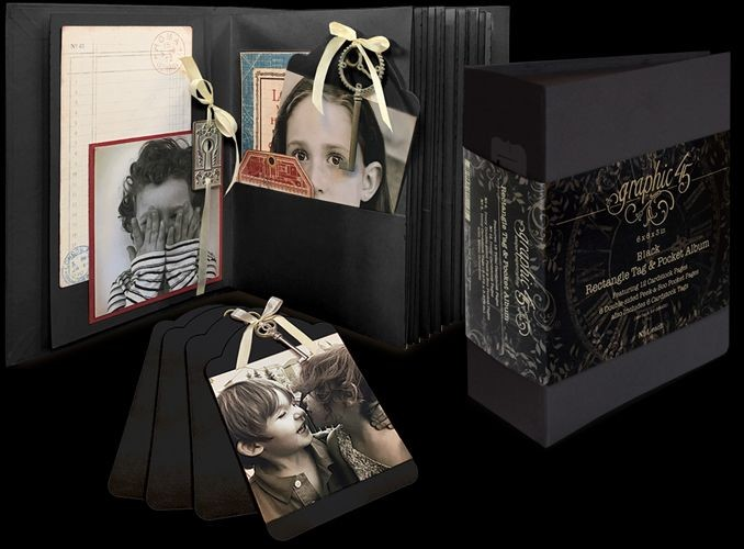 Graphic 45 Black Rectangle Tag & Pocket Album