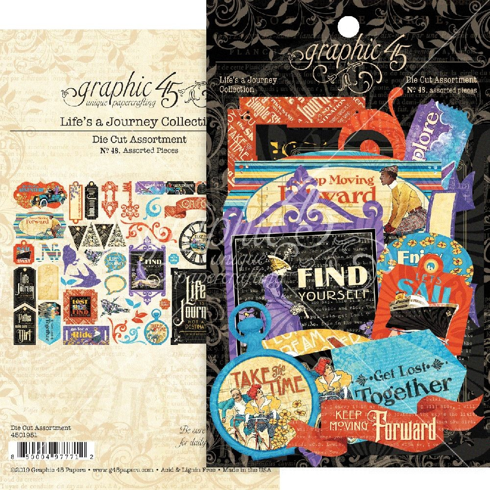 Graphic 45 Life''s a Journey Die-cut Assortment