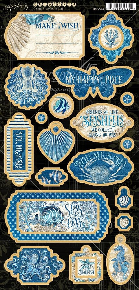 Graphic 45 Ocean Blue Chipboard
