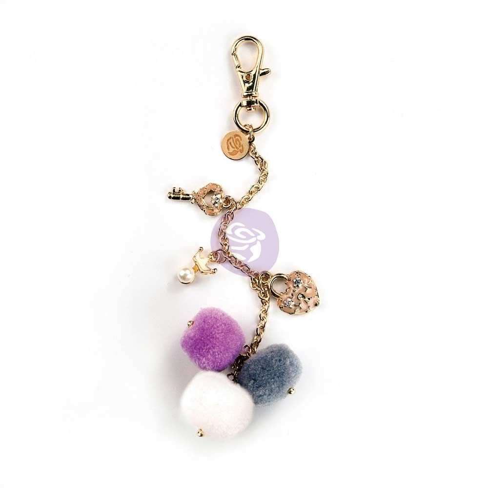 Prima Marketing My Prima Planner Embellishments - Key To My Heart Pom Pom Key Chain