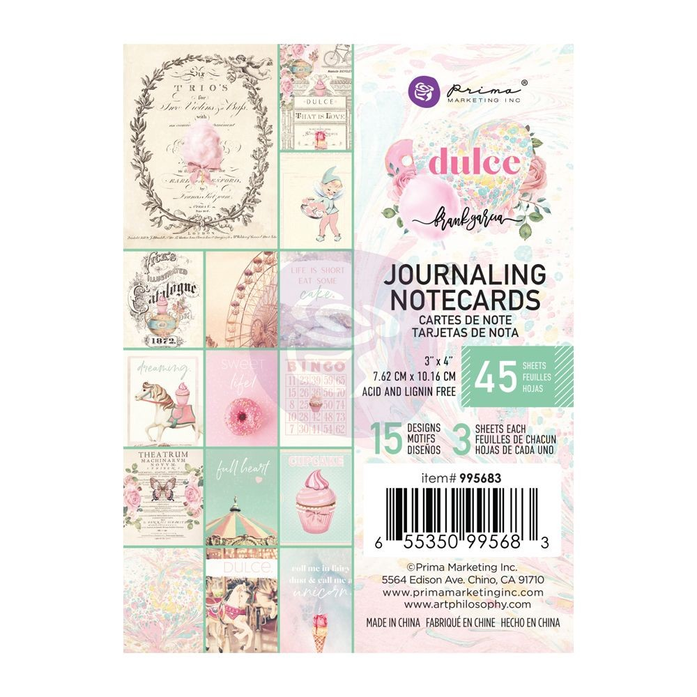 Prima Marketing Dulce Collection 3X4 Journaling Cards