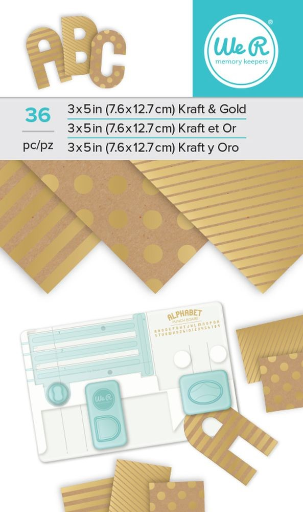 We R Memory Keepers Alphabet Punch Board Paper Pad - Kraft Gold Foil