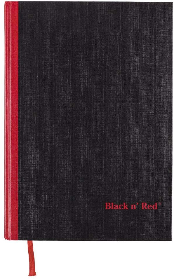 Black n'' Red Hardcover Notebook, Large, Black, 96 Ruled Sheets