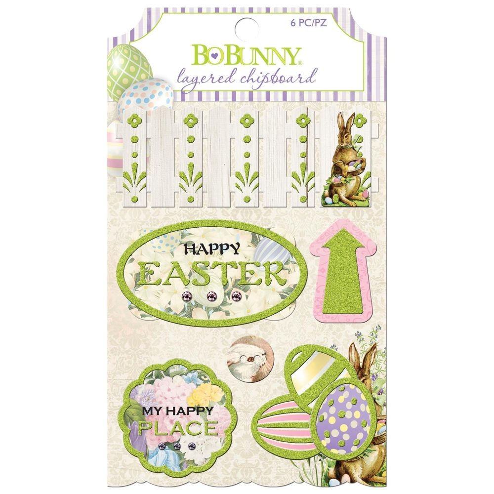 Bo Bunny Cottontail - Layered Chipboard - (6 Pieces)