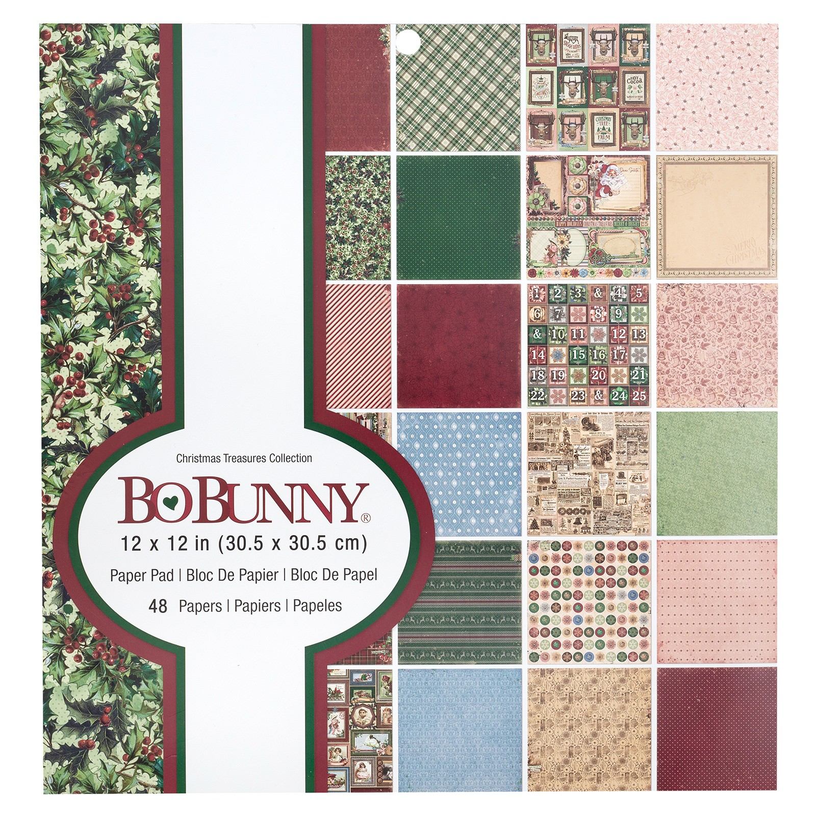 Bo Bunny Christmas Treasures - 12 x 12 Paper Pad - 48 Sheets