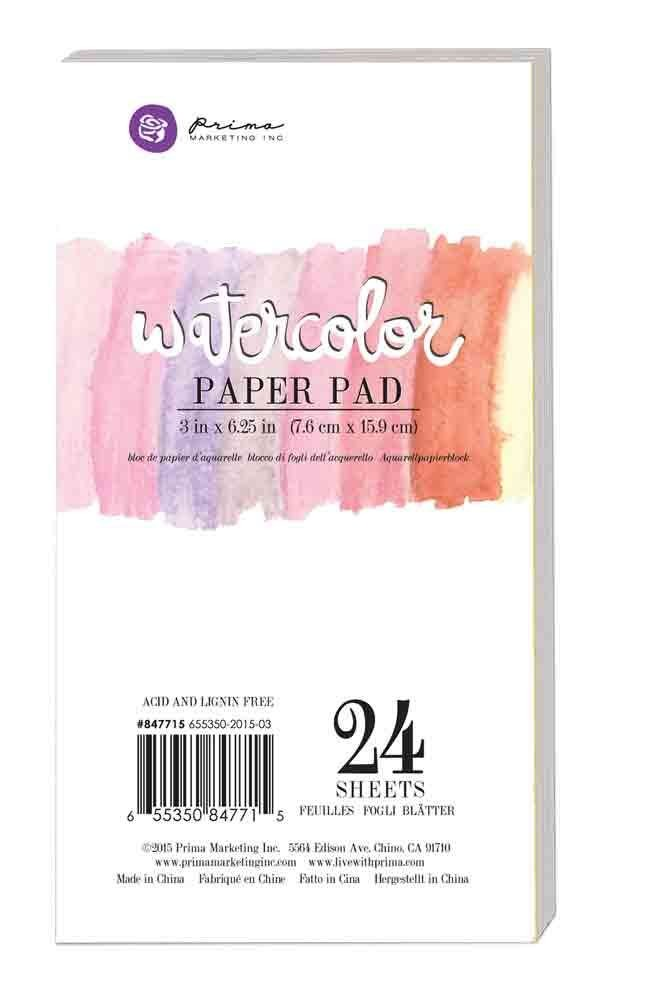 "Prima Marketing 3""x6.25"" Watercolor Paper Pad 24pc 140lbs cold press"