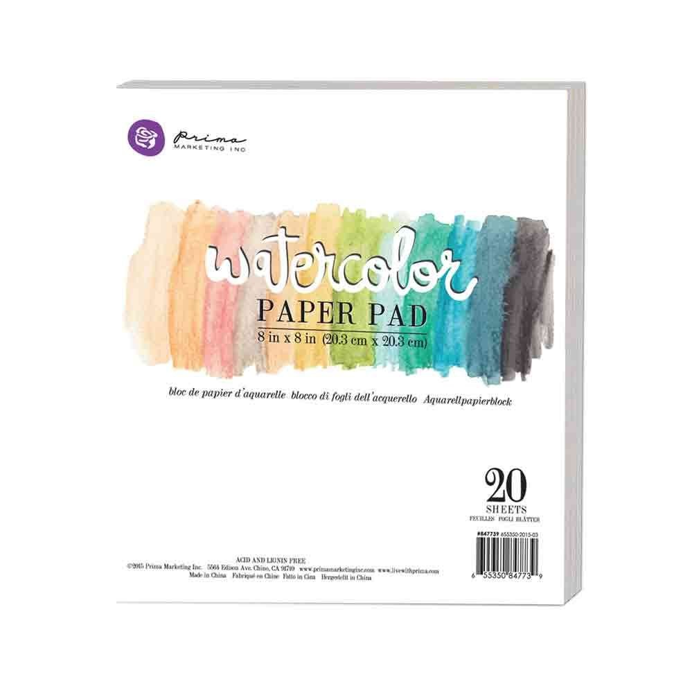 "Prima Marketing 8""x8"" Watercolor Paper Pad 20pc 140lbs cold press"