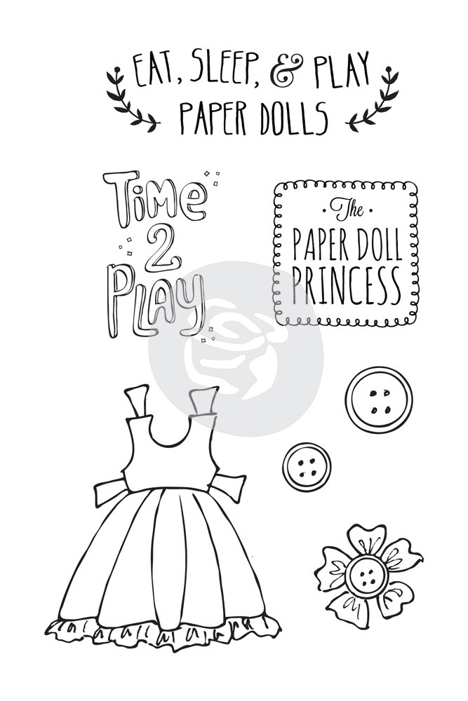 "Prima Marketing Julie Nutting Doll Stamp - Play Time 4"" x 6"" Stamp Kit"