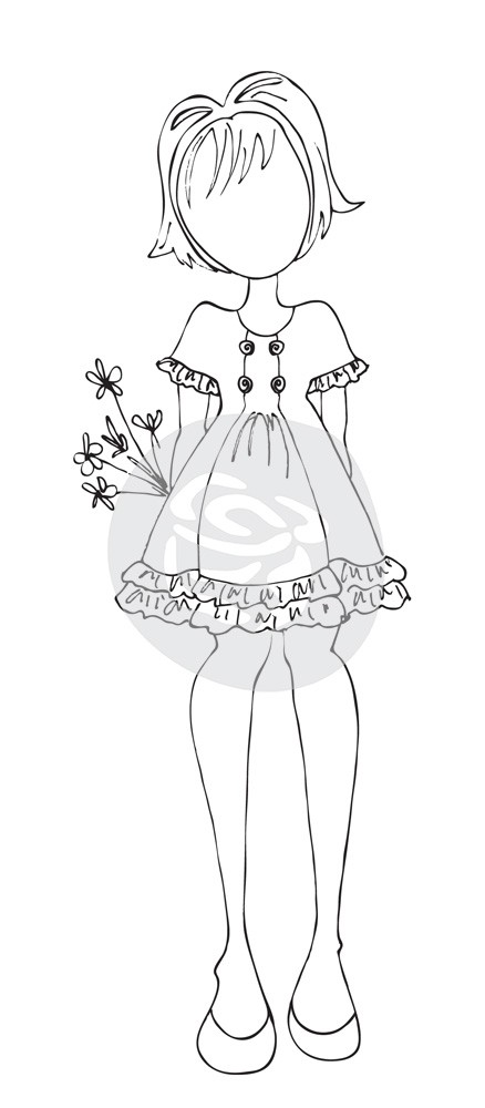 Prima Marketing Julie Nutting Doll Stamp - Keira - Mixed Media Cling Stamp