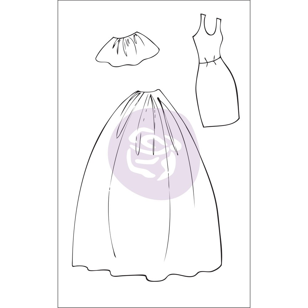 Prima Marketing Julie Nutting Doll Stamp Accessories - Dress & Skirts
