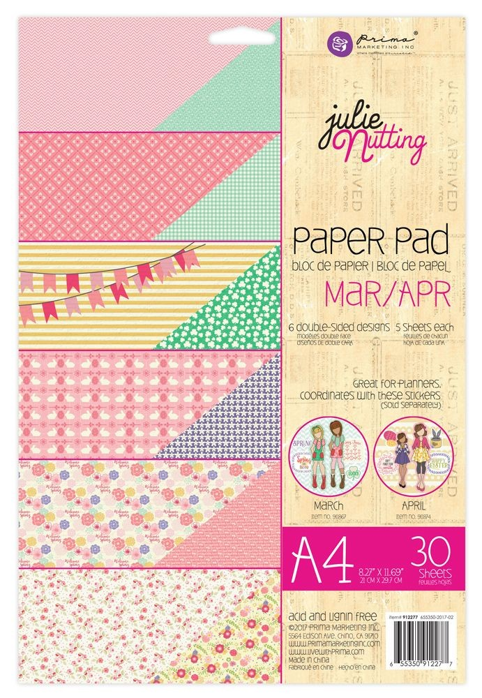 Prima Marketing Julie Nutting A4 Paper Pad Mar-Apr Patterns