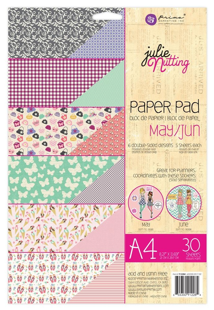 Prima Marketing Julie Nutting A4 Paper Pad May-Jun Patterns