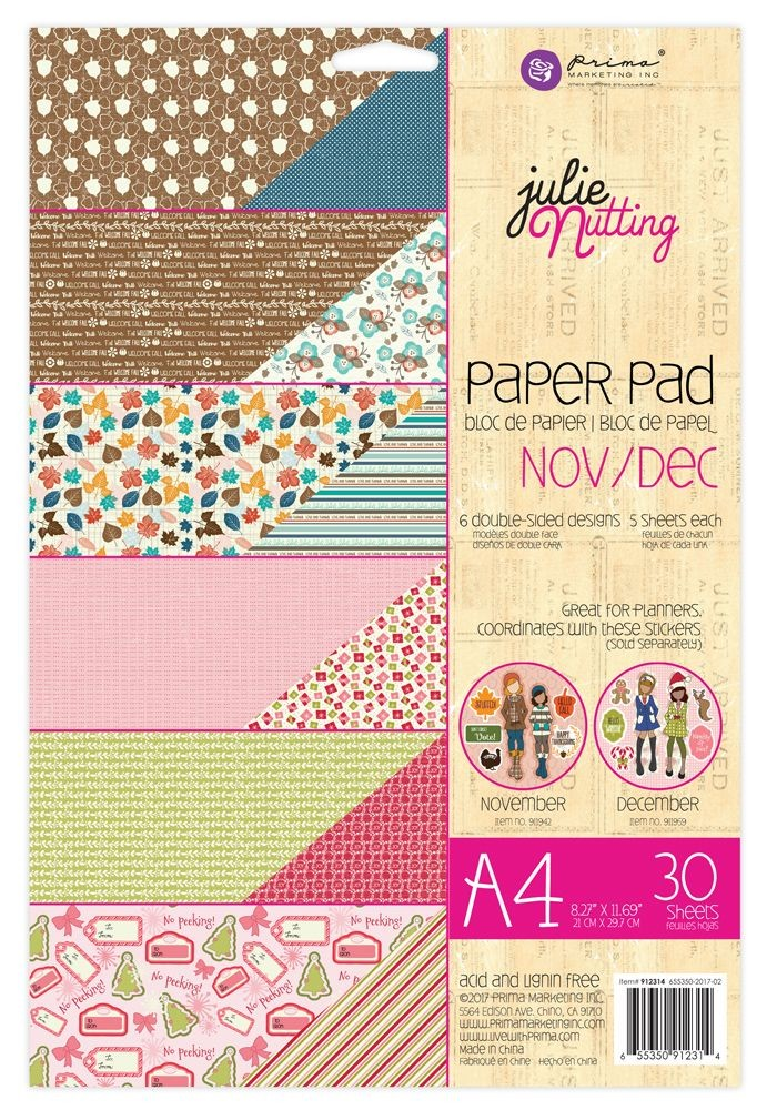 Prima Marketing Julie Nutting A4 Paper Pad Nov-Dec Patterns