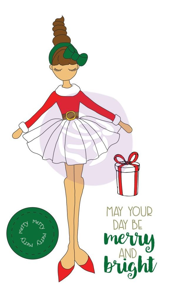 Prima Marketing Julie Nutting Christmas Stamp Merry Doll