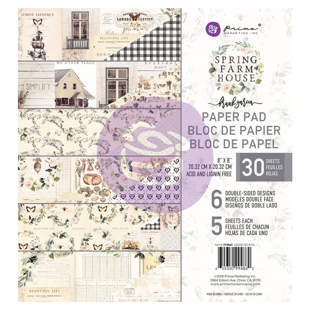 Prima Marketing Spring Farmhouse 8x8 Paper Pad