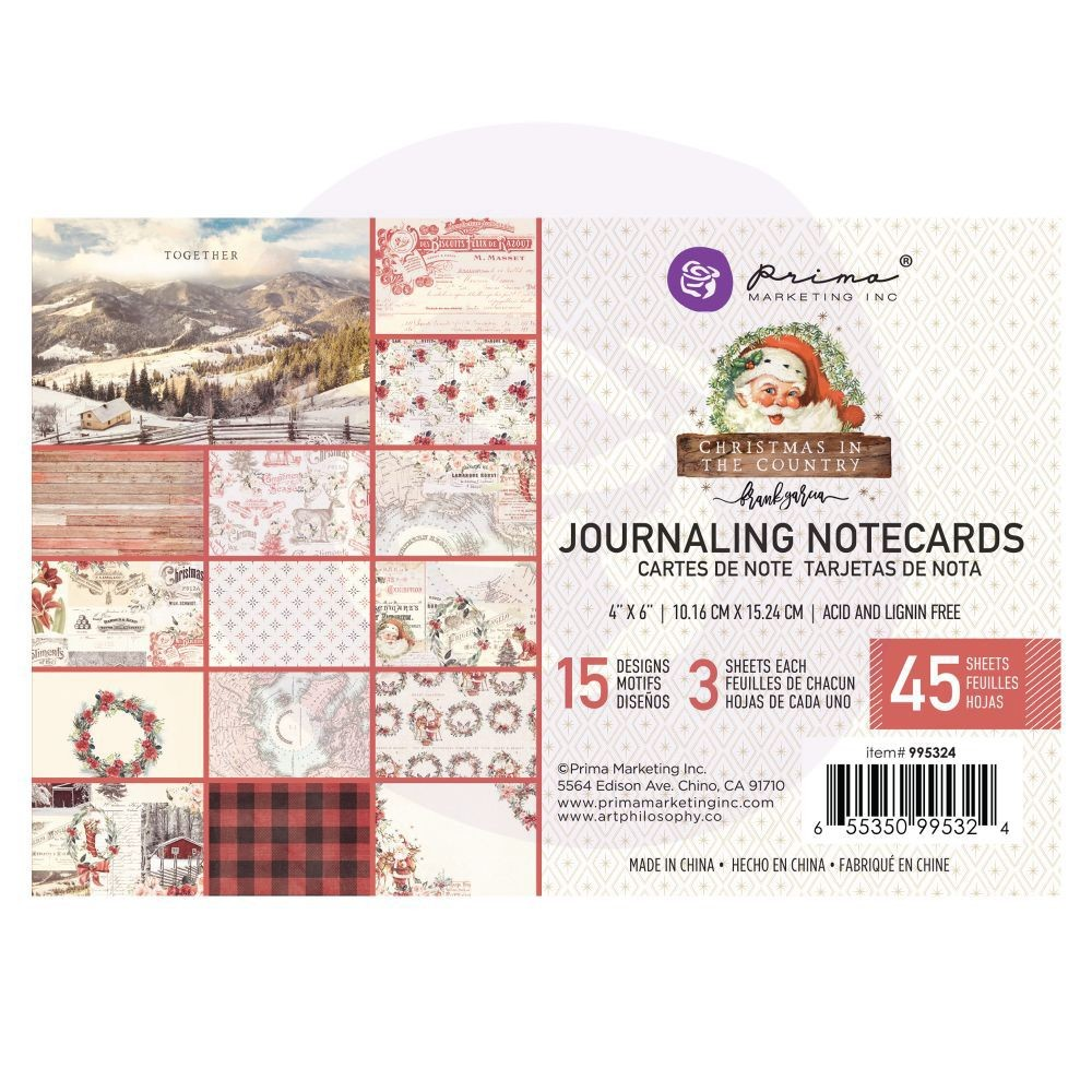 Prima Marketing Christmas in the Country - 4X6 Journaling Cards