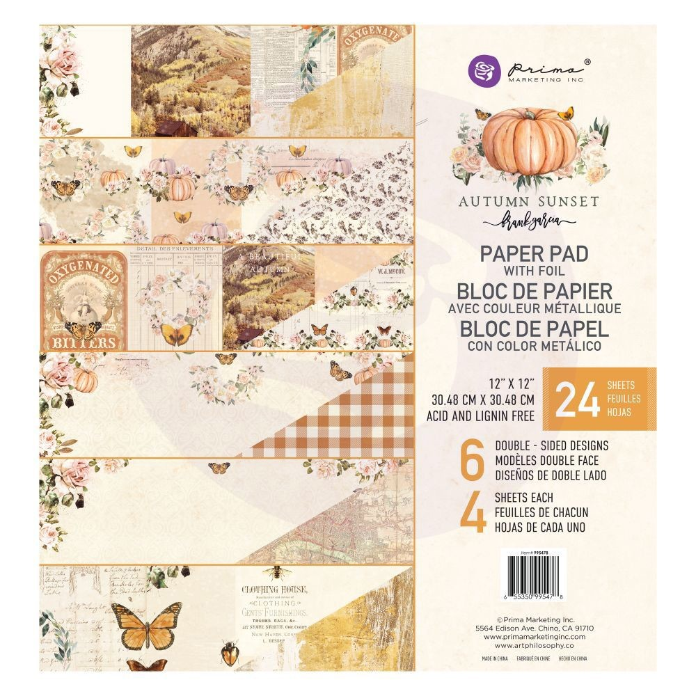 Prima Marketing Autumn Sunset - 12x12 Paper Pad