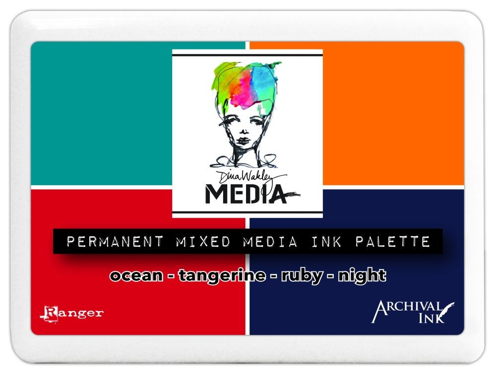 Ranger Dina Wakley Mixed Media Palette (#3 Ink Pad Contains Tangerine, Ocean, Ruby & Night Archival Inks)