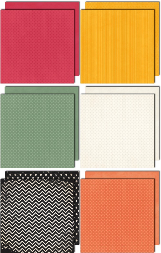 Bo Bunny Aryia 12x12 Coordinating Double Dot Paper Bundle