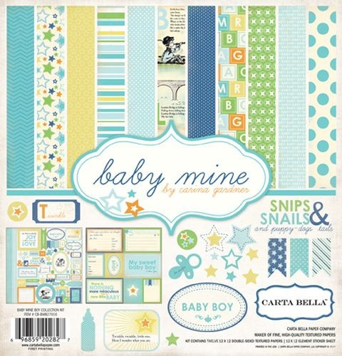 Carta Bella Baby Mine Boy 12x12 Collection Kit - Snips Snails & Puppy Dog Tails