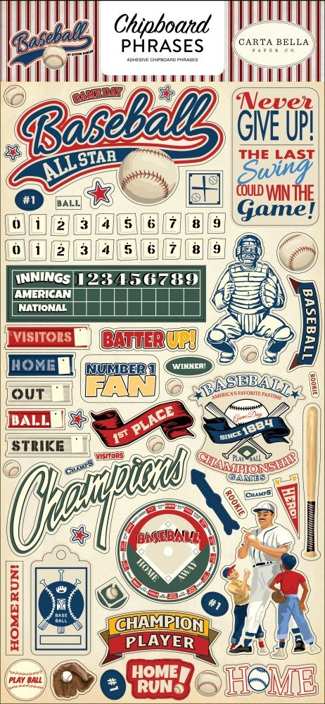 Carta Bella Baseball 6x13 Chipboard Phrases