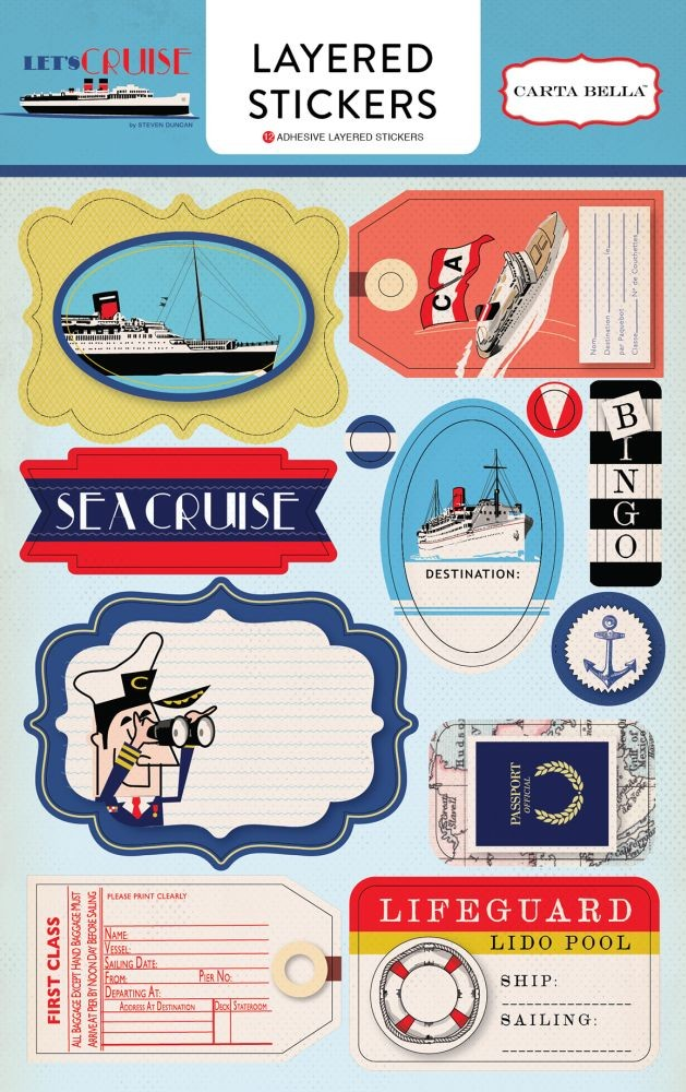 Carta Bella Let''s Cruise Layered Stickers