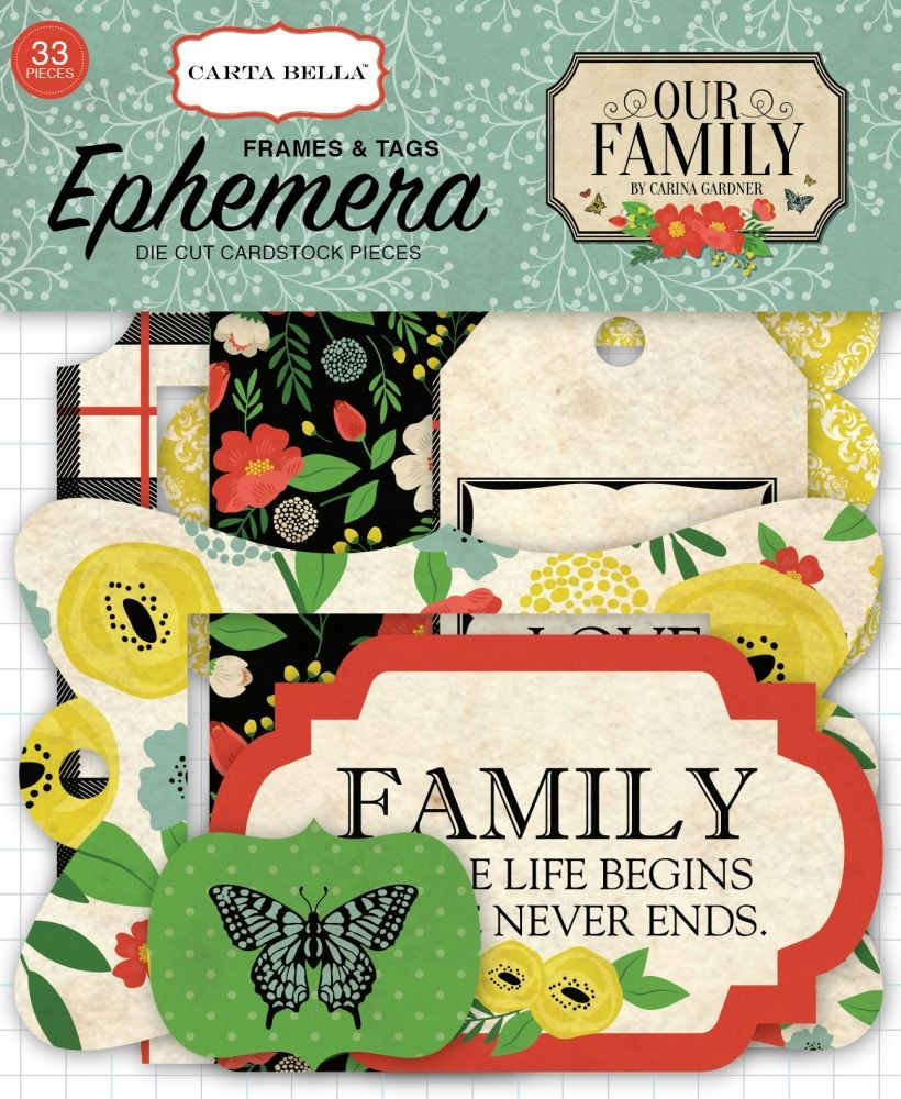 Carta Bella Our Family Frames & Tags Ephemera