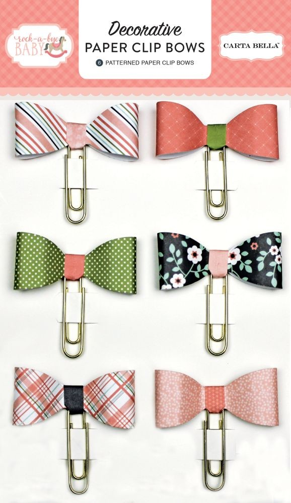 Carta Bella Rock-A-Bye Girl Decorative Paper Clip Bows