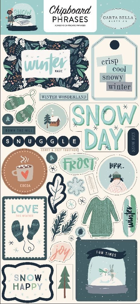 Carta Bella Snow Much Fun 6x13 Chipboard Phrases