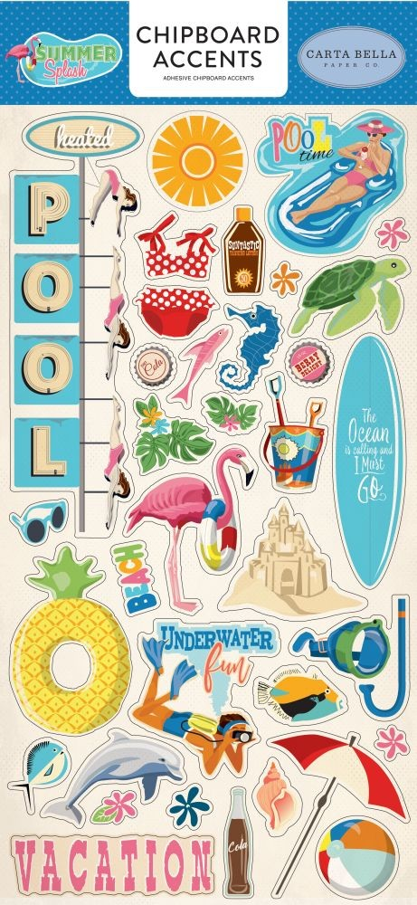 Carta Bella Summer Splash 6x13 Chipboard Accents
