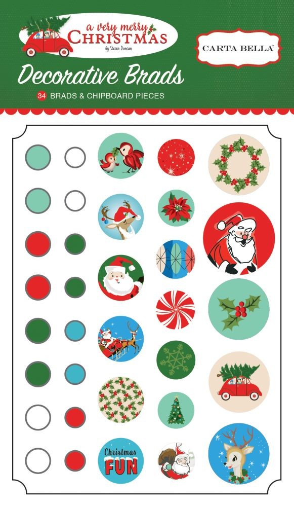 Carta Bella A Very Merry Christmas Decorative Brads