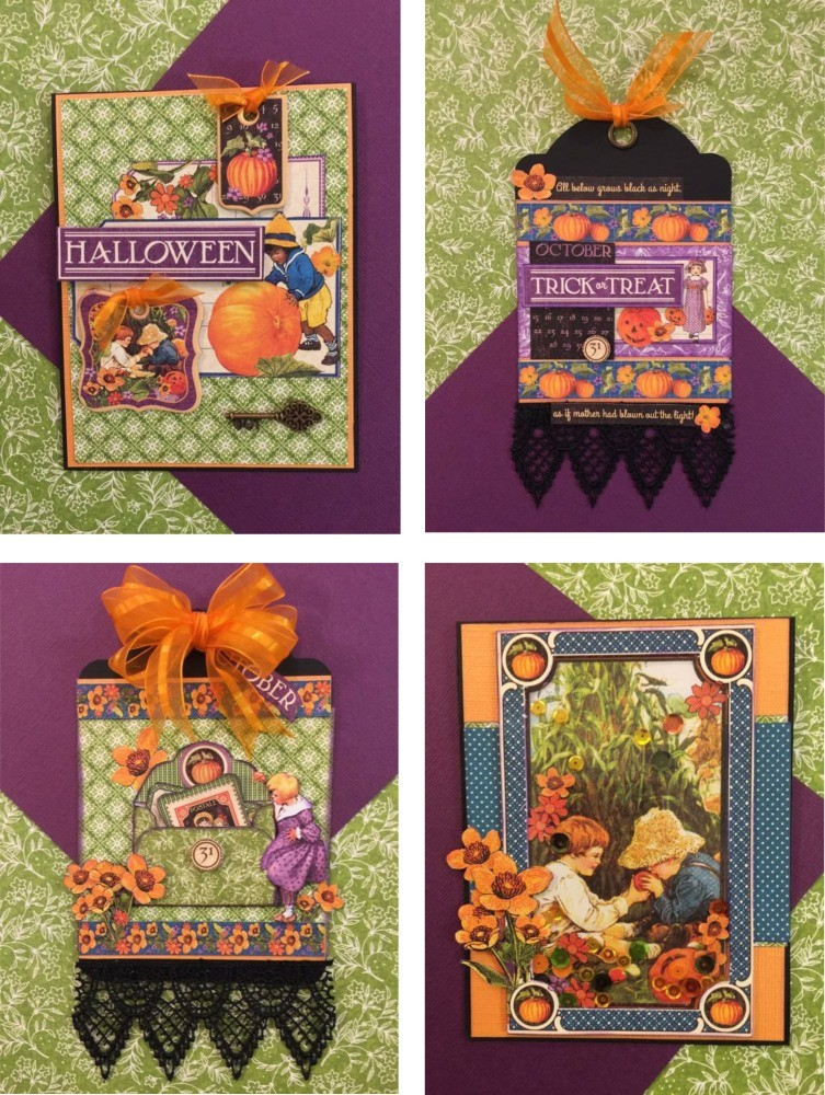 Graphic 45 G45 / Children''s Hour Card/Tag October Kit