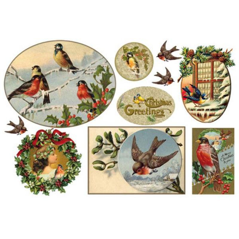 Stamperia Rice paper cm.  48x33 - Merry Christmas birds