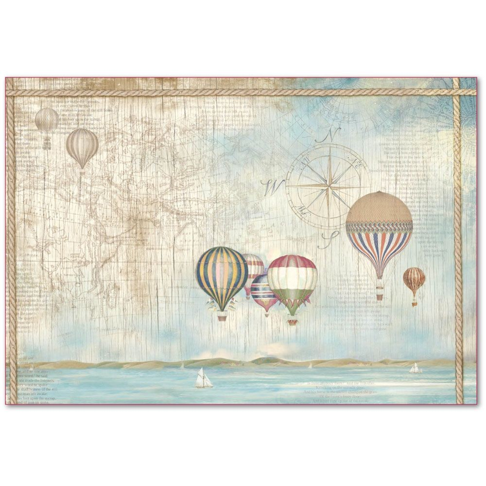 Stamperia Decoupage Rice Paper 48x33 Sea Land balloons
