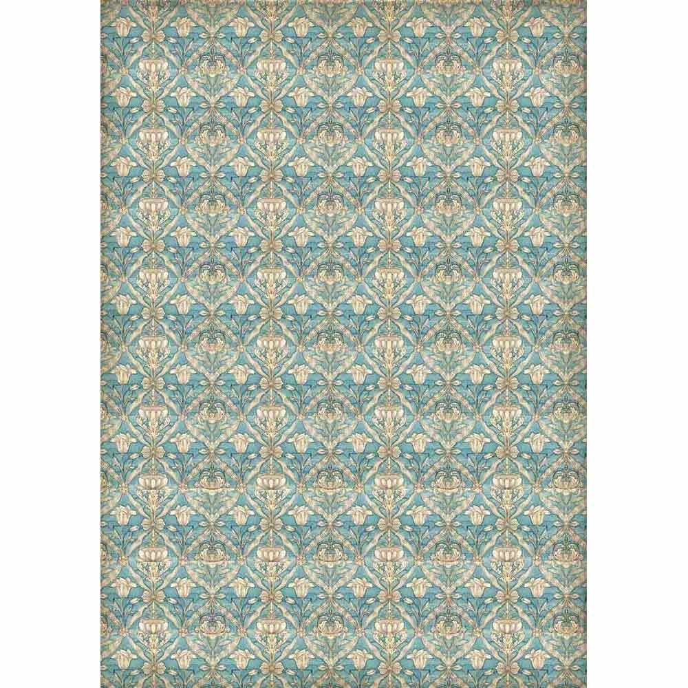 Stamperia A3 Decoupage Rice Paper packed Texture turquoise background
