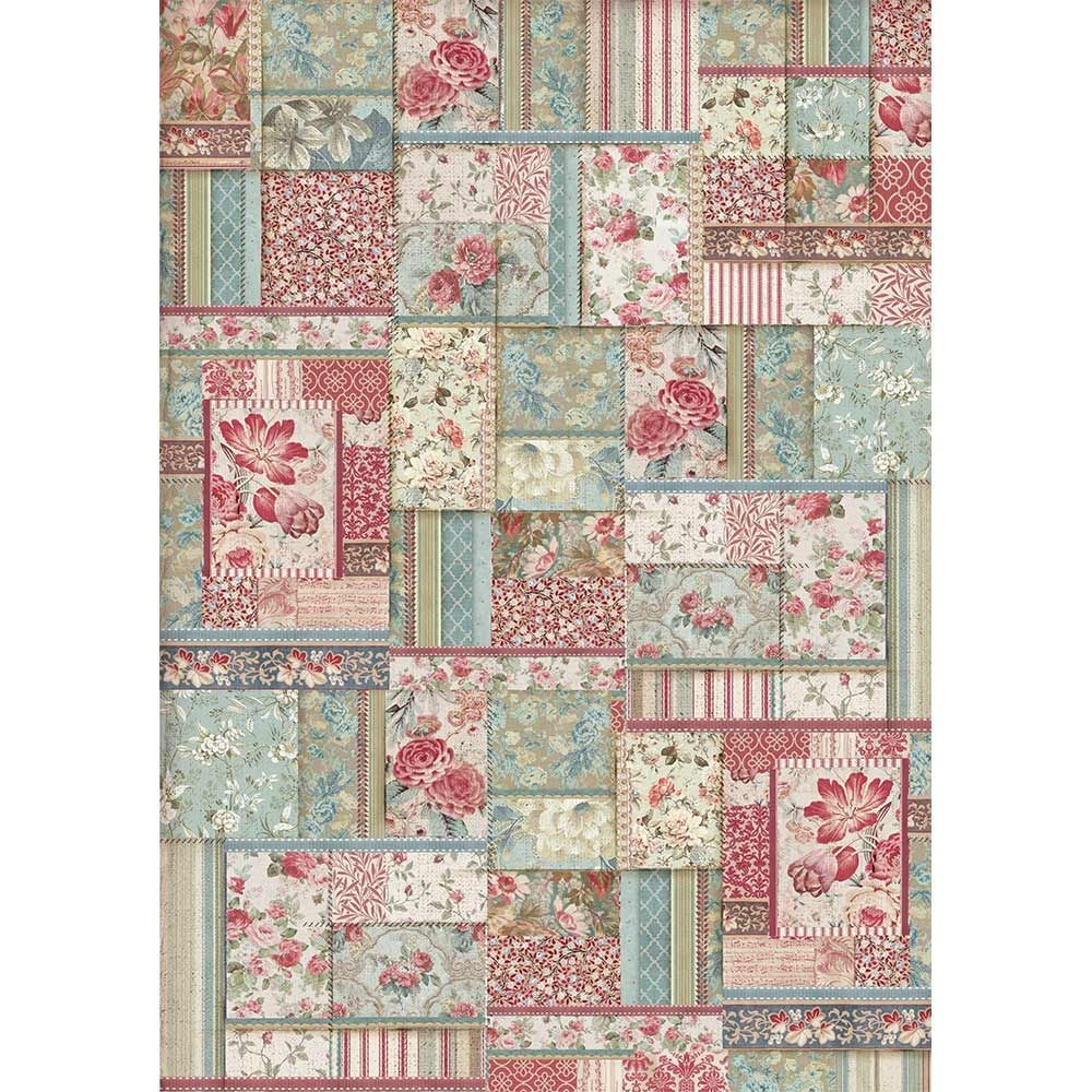 Stamperia A3 Rice paper packed Flower patchwork