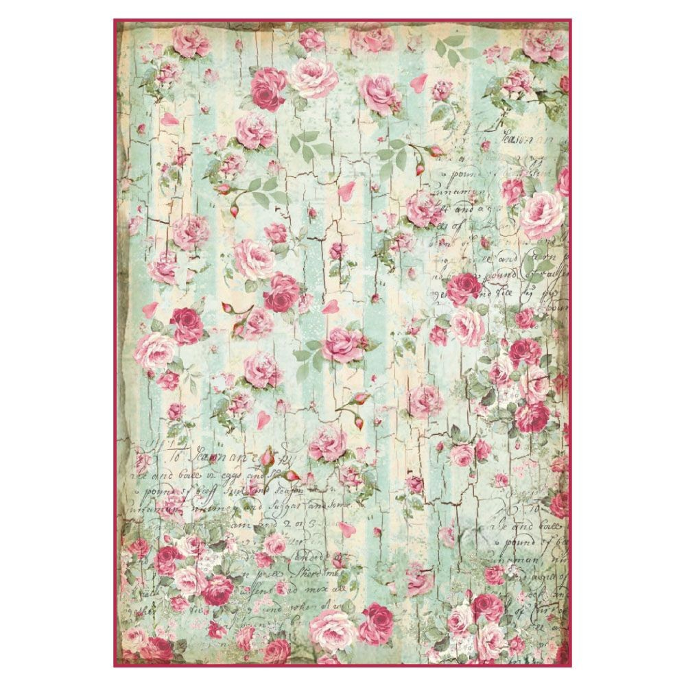 Stamperia A4 Decoupage Rice Paper Packed Small roses and writings texture