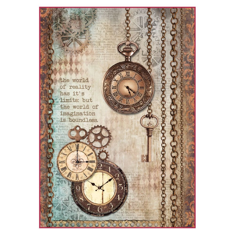Stamperia A4 Decoupage Rice Paper Packed Clockwise clock and keys